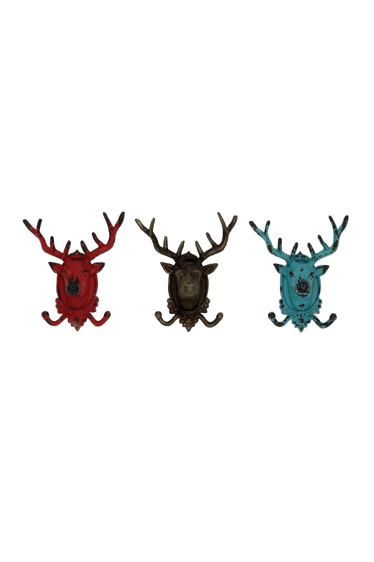 Rustic Vintage Decor Metal Deer Hooks - Set of 3 $69.00 | Log Cabin ...