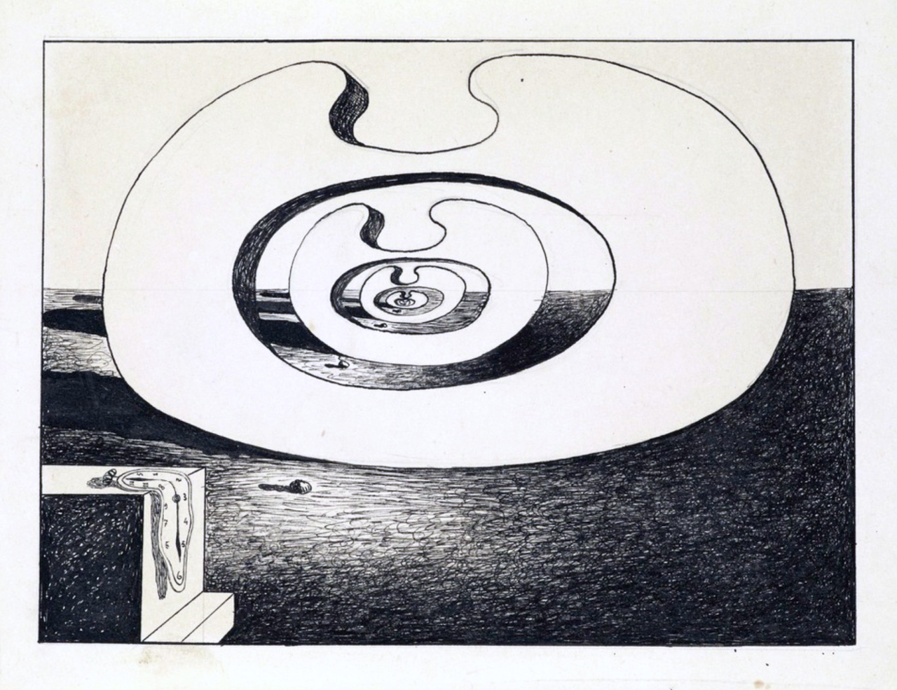 Montre Molle Biomorphique by Salvador Dalí, ca. 1930. India Ink and pencil on paper, 4 ⅞ × 6 ¼ inches. Artlala Studio Gallery, Los Angeles, CA.