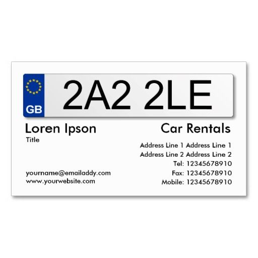 UK Number Plate White Business Card Taxi Business Cards - Uk business card template