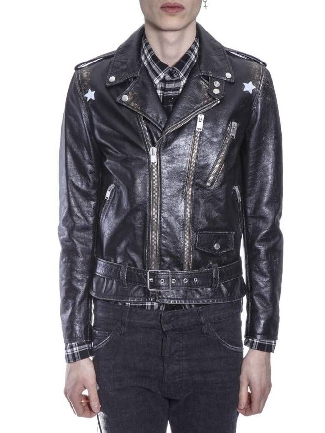 2d6bdcf32 Saint Laurent Paris 17SS Vintage Stars L17 Leather Biker Jacket Sz50 ...