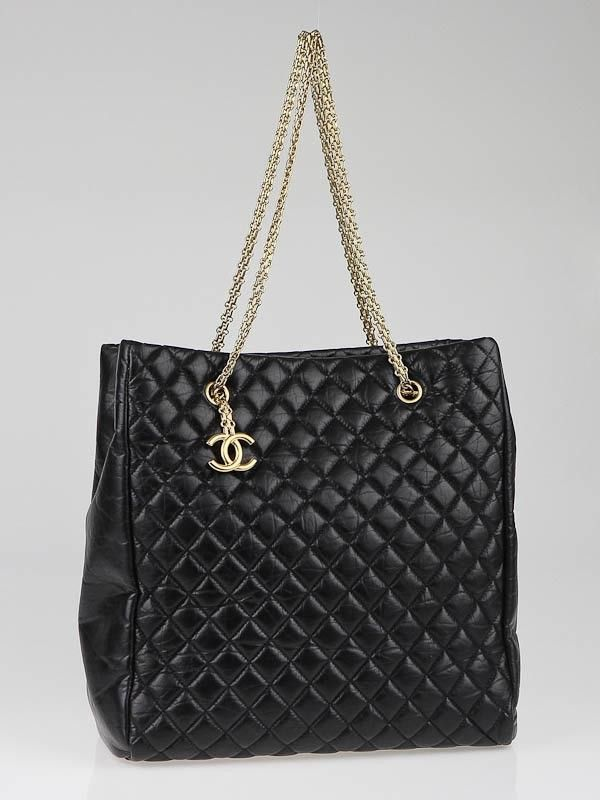1140aeb73bbf Chanel Black Quilted Calfskin Leather Mademoiselle Large Tote Bag ...