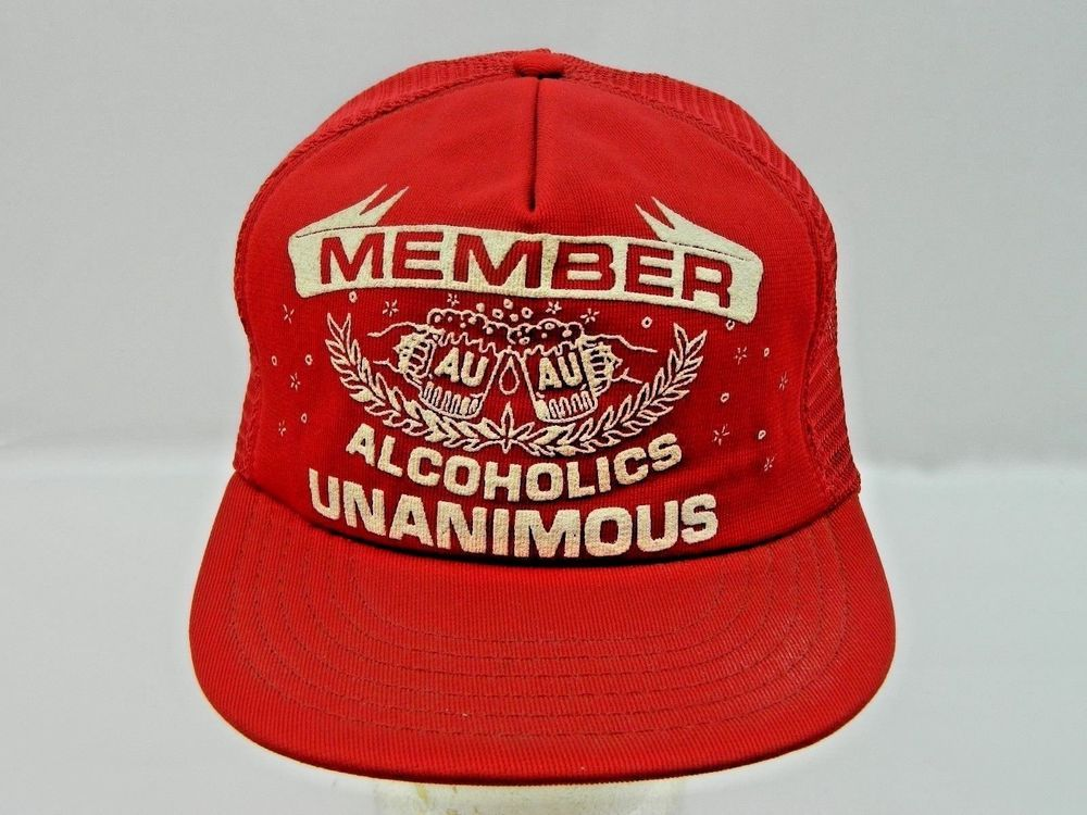08ffe1e506f Drinking Drinker Alcoholics Unanimous Member Party Mesh Hat Snapback Vtg  Trucker Drink Party Mancave Beer Whiskey Alcohol Bar Tavern