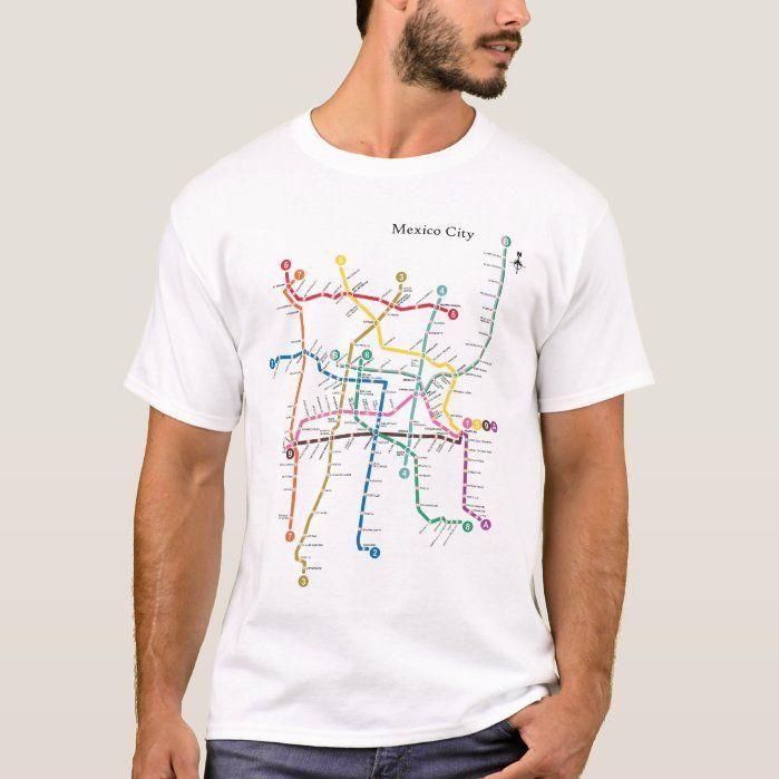 Mexico City metro map tee shirt t-shirt, Men's, Size: Adult L, White