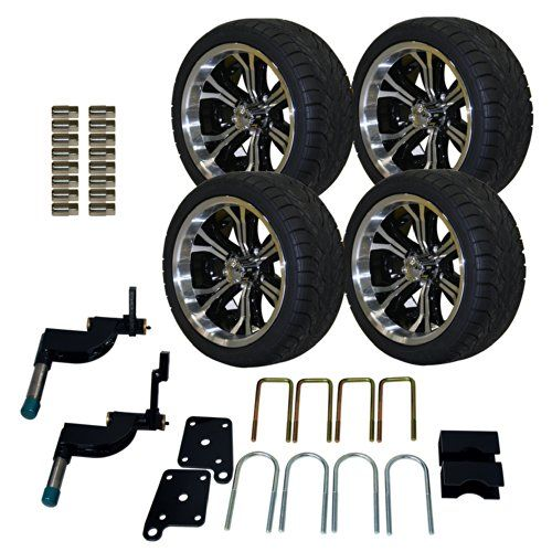 Pro Fit 750504pkg 215 35 To 14 Inch Backlash Tire With Machined Black Optimus Wheel Package And Lift Kit Combo Lift Kits Golf Cart Wheels Golf Cart Accessories