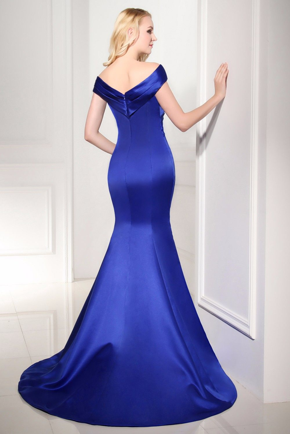 Arrival mermaid royal blue long evening dress v neck floor length