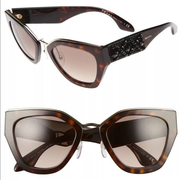 b55b87e155 NEW Prada Ornate Embellished Sunglasses Authentic Prada SPR 10T 2AU-3D0  Embellished Ornate Sunglasses. 52-22-140mm. Dark Havana acetate frame with  Smoke ...