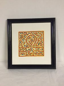 Framed-Print-Keith-Haring-Abstract-Yellow-Red-White-Black