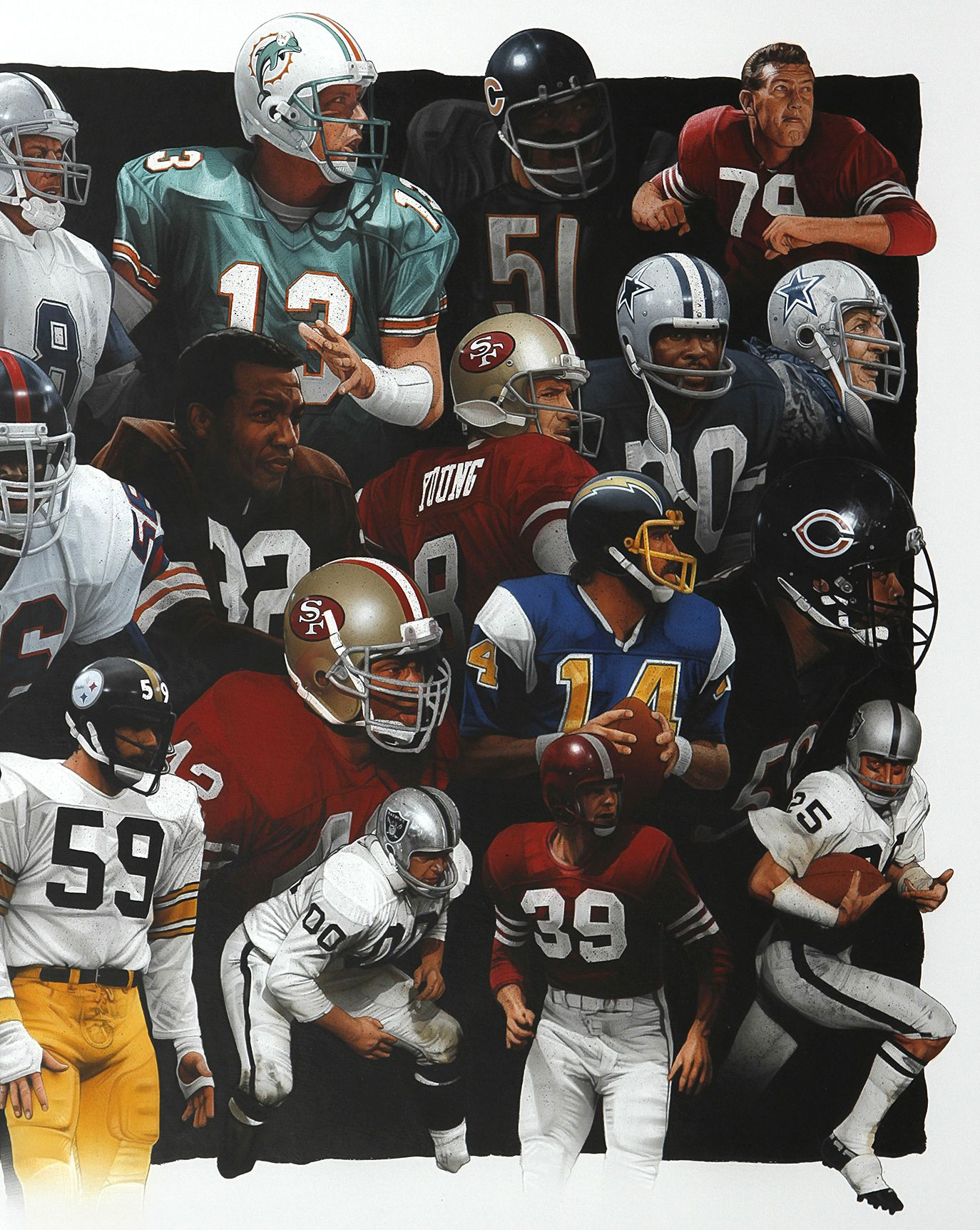 """NFL Greats"" 5'x 2.5' ft. acrylic paint/colored pencil artwork by Adam Port (detail). | Nfl ..."