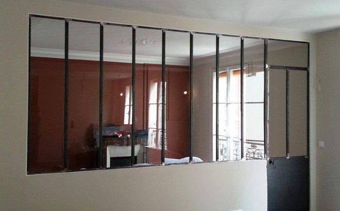 Verrière 8 vitrages et porte OF finition brute Verriere atelier - porte accordeon pour douche