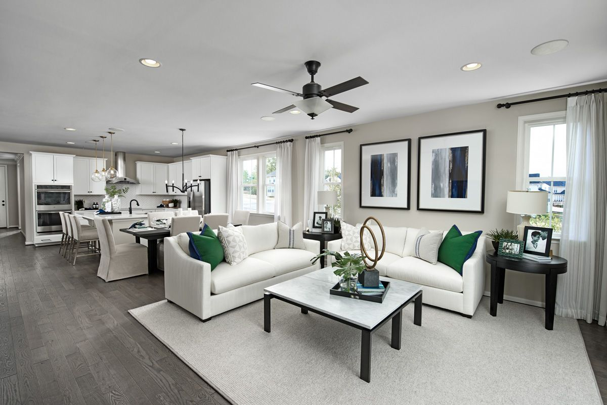 Arlington Model Home Great Room Hagerstown Maryland In 2020 Living Room Sofa Design Richmond American Homes Living Room Designs