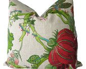 Decorative Designer Jacobean Floral Pillow Cover, Green, Pink, Turquoise, 18x18, 20x20, 22x22, Throw Pillow