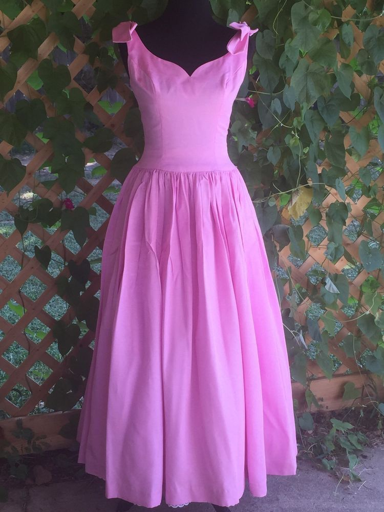 Vtg 80s Pink Long Ugly Bridesmaid Dress Gown Party Halloween Costume ...