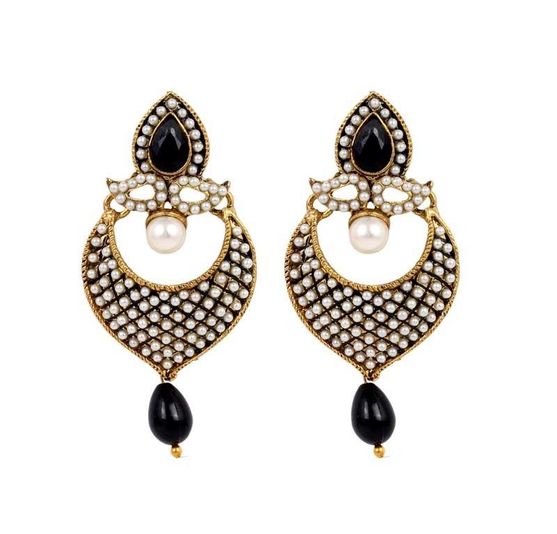 Ethnic White and Purple Polki Pearls Jhumka Earrings for wedding ...