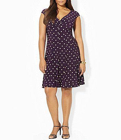 5c2cf46c66c Lauren Ralph Lauren Plus DotPrint Dress  Dillards