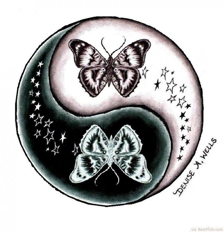 Yin Yang Butterfly Stars Tattoo Design Http://bestpickr