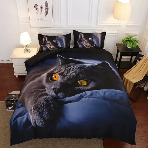 Lovely Cartoon Black Cat Bedding Set Duvet Cover Comforter Cover Pillow Case