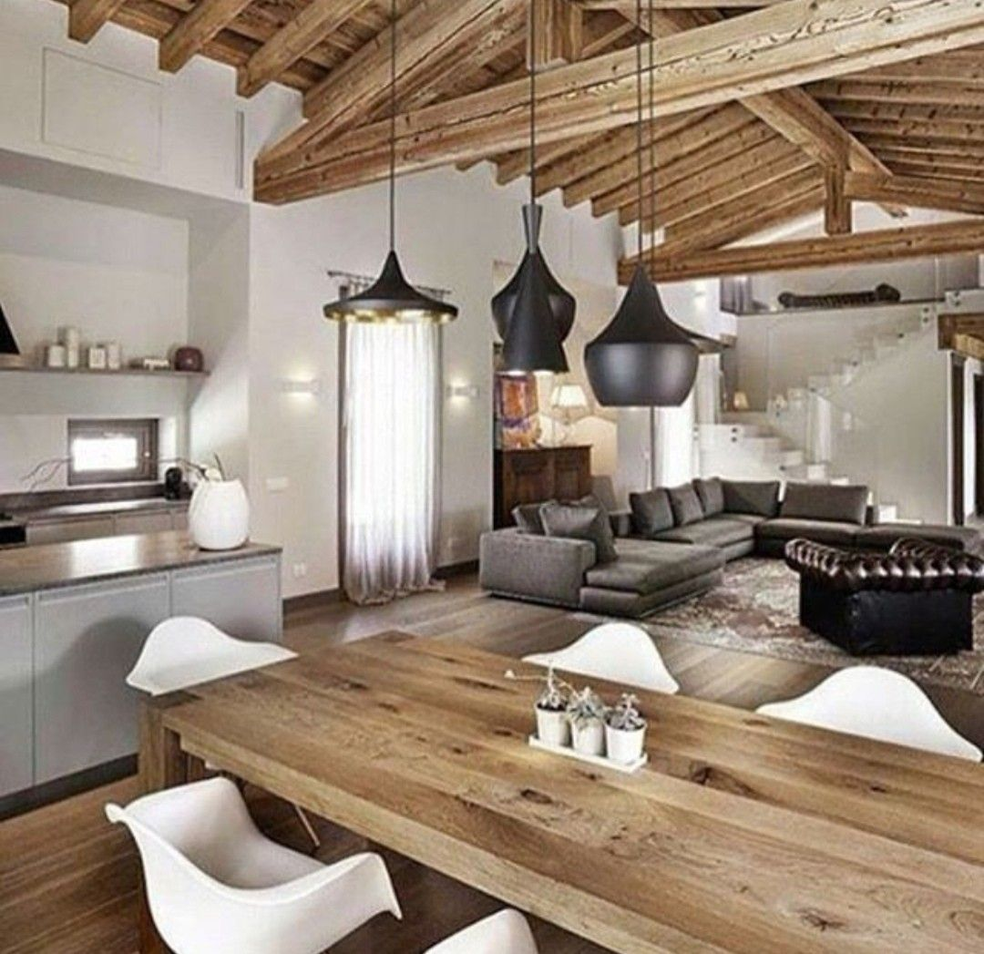 Living open space con cucina a vista interni rustici for Design case interni