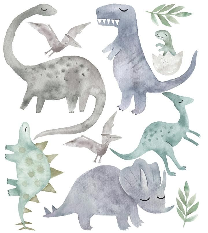 Watercolour Dinosaurs Wall Decal Set Full Set In 2020 Dinosaur