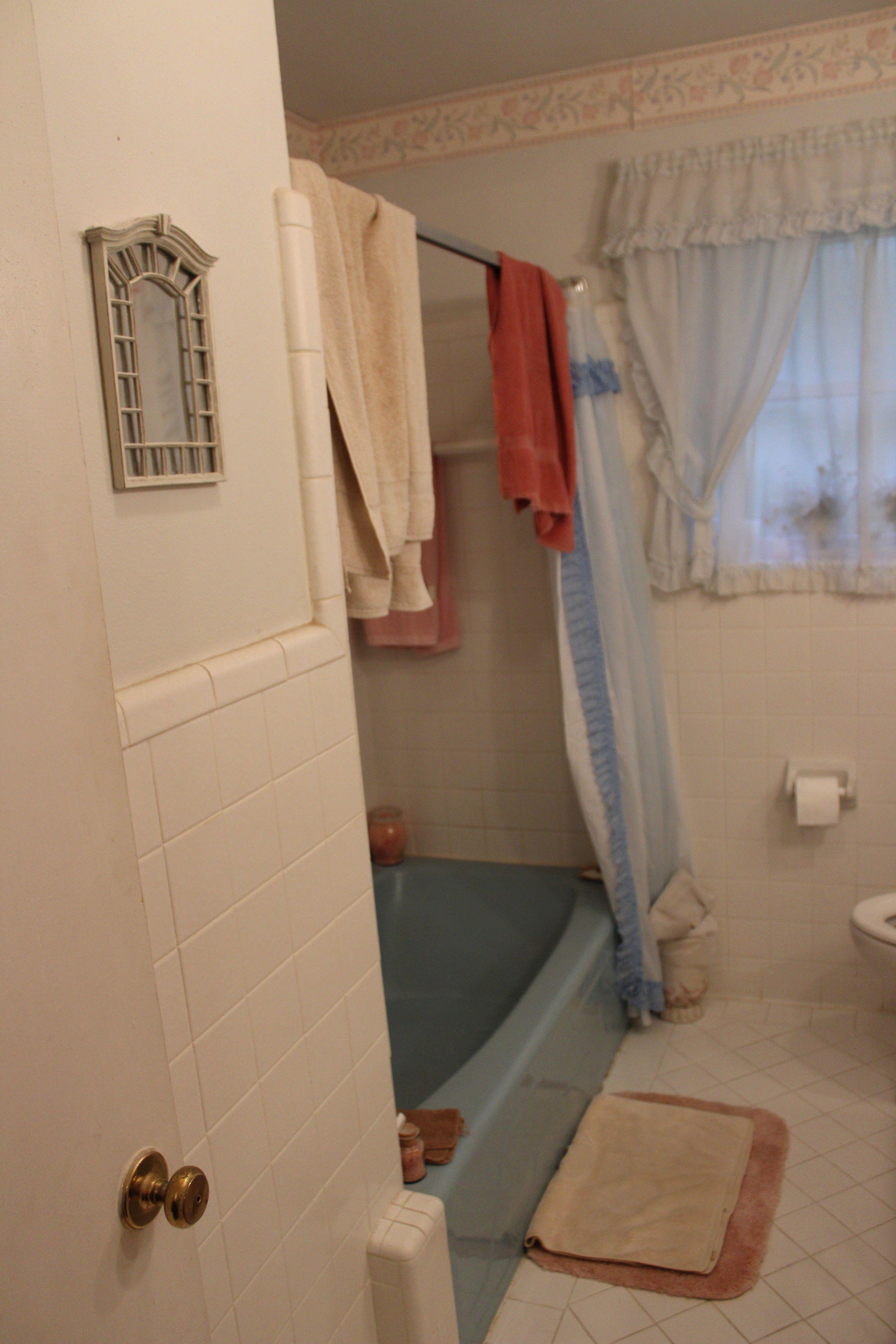1960 S Blue Bathtub Updated Bathroom Before Picture White Bathroom Tiles Bathtub Makeover Diy Bathroom Remodel