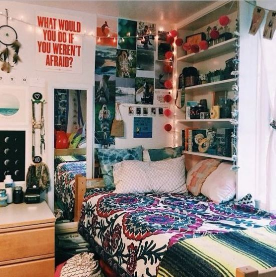 Colorful Dorm Room: This Colorful Bohemian Room Is Full Of Cute Dorm Room