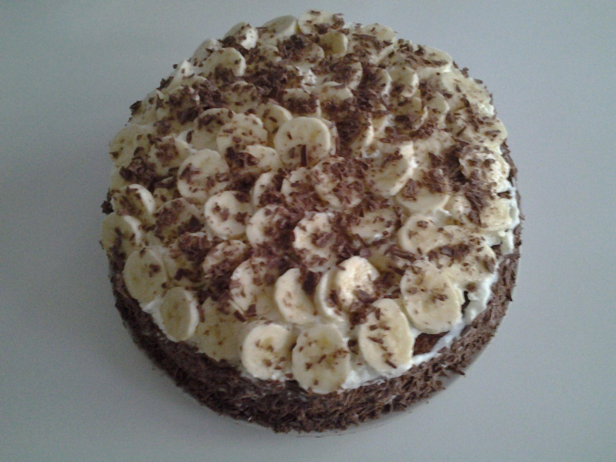 Chocoladebiscuit met bananen .