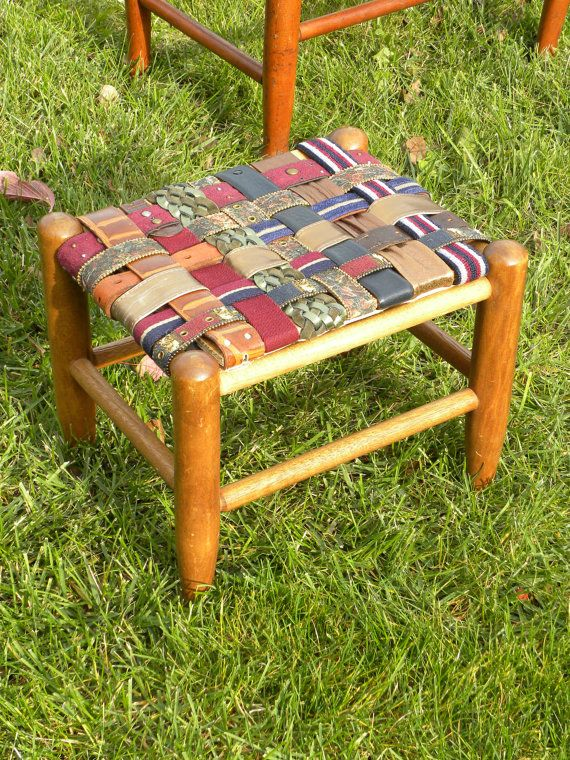 Magnificent Leather Beltart Footstool Made With Recycled Belts By Machost Co Dining Chair Design Ideas Machostcouk