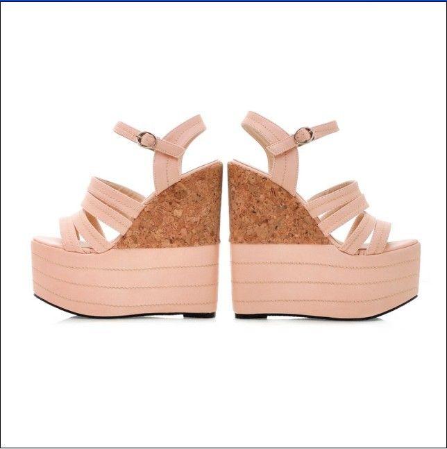 Stylish Color Block Bandage Style Sloping Heel Sandals Pink - $105.72