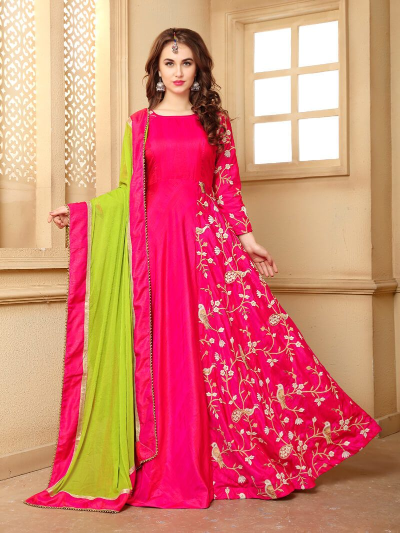 a95383d4ae Buy Anarkali Gown By Craftsvilla (pink_banarasi Silk) online. ✯ 100%  authentic products, ✯ Hand curated, ✯ Timely delivery, ✯ Craftsvilla  assured.