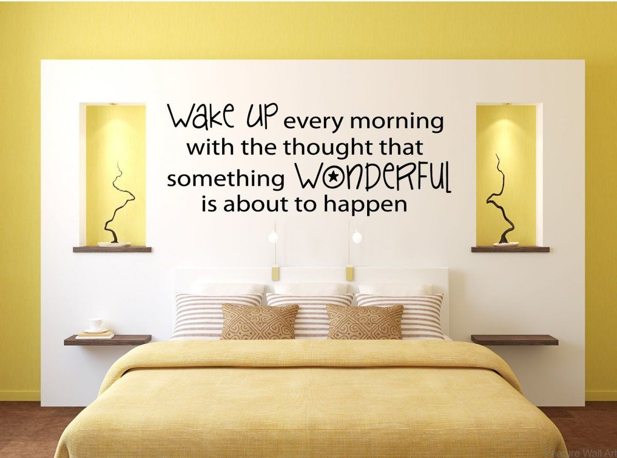 Minimalist Yellow Bedroom with Motivating Quote Wall Decals Stickers ...