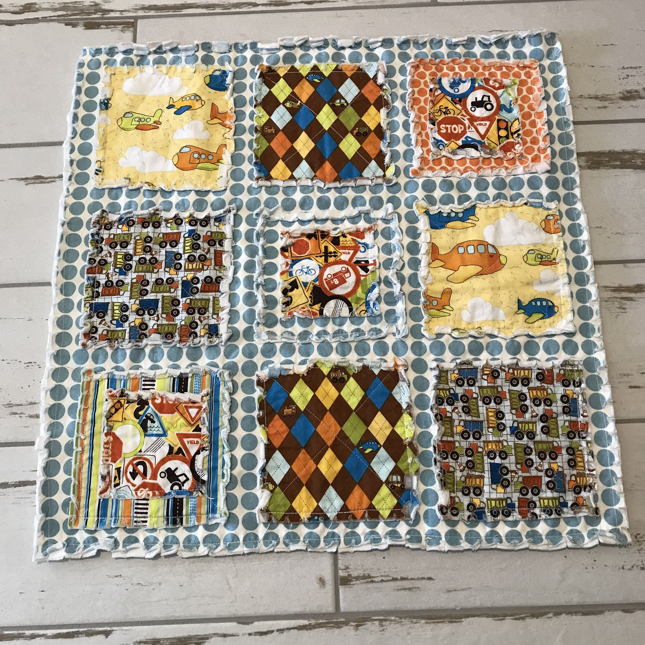 Rag Quilt Lovey/ Security blanket/ Minky Blanket/ I Spy Patch Blanket/ Toddler/ Baby Boy/ Airplanes/Trucks/ Ready to Ship.