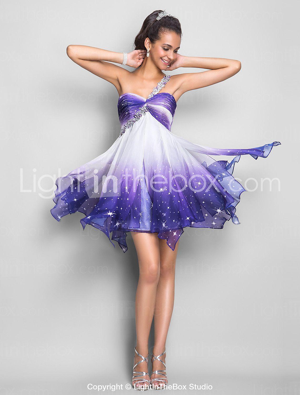 Linia jedno ramię krótka mini koktajl szyfonu sukienka