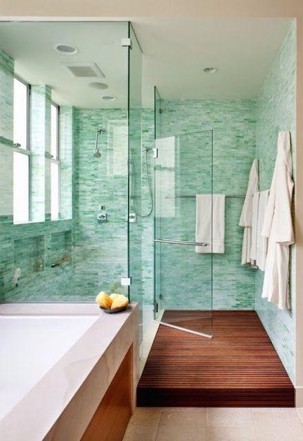 Turquoise aqua tiled Spa-Inspired Bathroom - love the wood floor