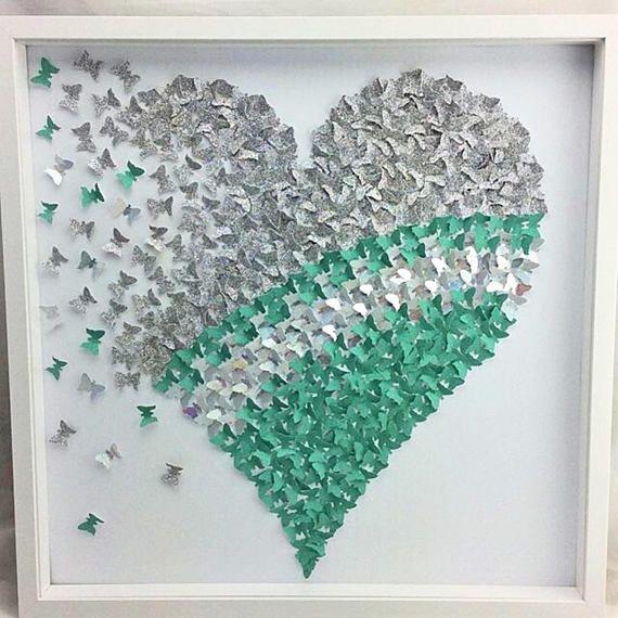 Teal Silver Living Room Walll Art Paper Butterfly Heart Paper Butterflies Diy Paper Butterfly Paper Art Craft