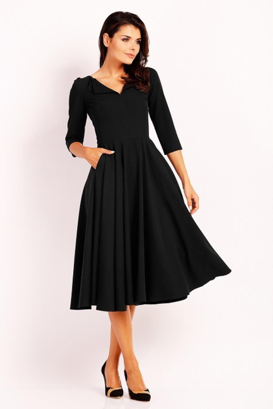 90d9d78f52 Elegancka Sukienka Midi z Dłuższym Rękawem Czarna NA454 in 2019 ...