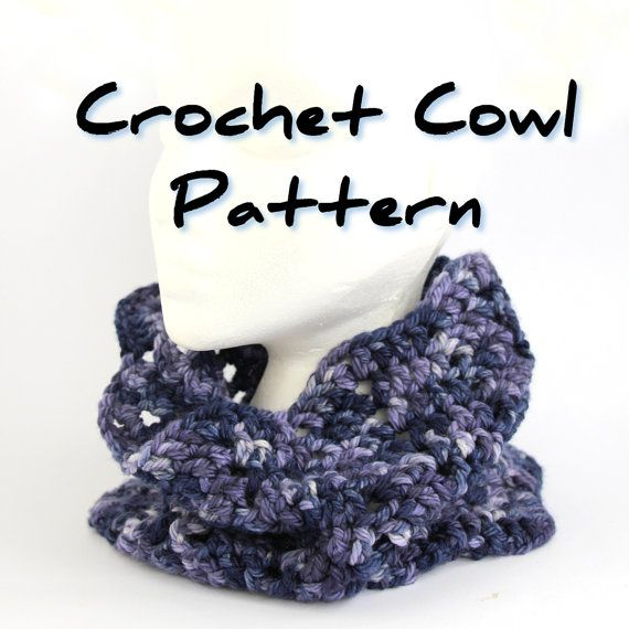 Crochet Cowl Pattern Pdf Chevron Zig Zag Bulky Pull On Scarf Easy