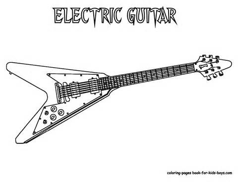 Grand Guitar Coloring Guitars Free Electric Guitar Instrument Coloring Pages Color Printable Coloring Pages