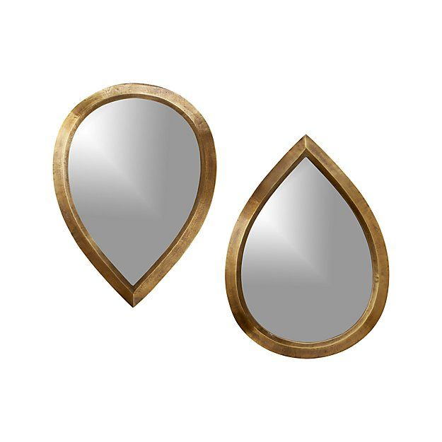 Bathroom Mirrors Crate And Barrel set of 2 kasbah teardrop brass wall mirrors - crate and barrel