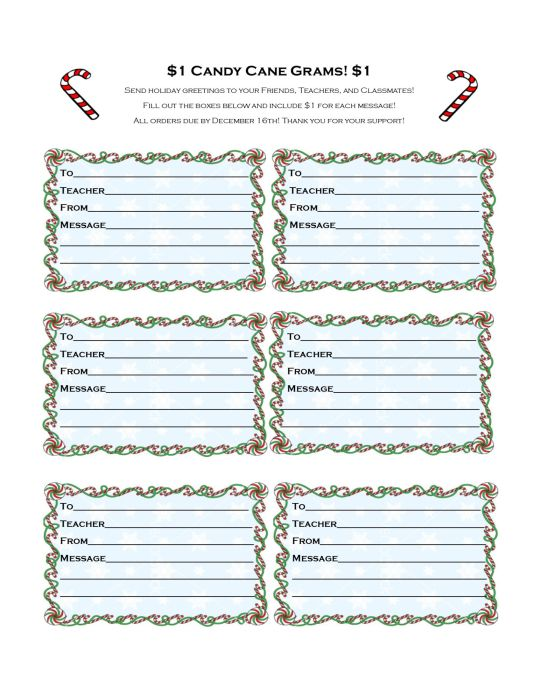 Candy Cane Grams Order Form Projects to Try Pinterest Order - holiday leave form template