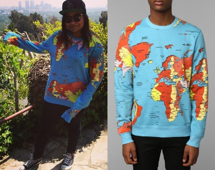 Mindy kaling posted this photo of herself on instagram yesterday mindy kaling posted this photo of herself on instagram yesterday wearing this world map print sweatshirt gumiabroncs Image collections