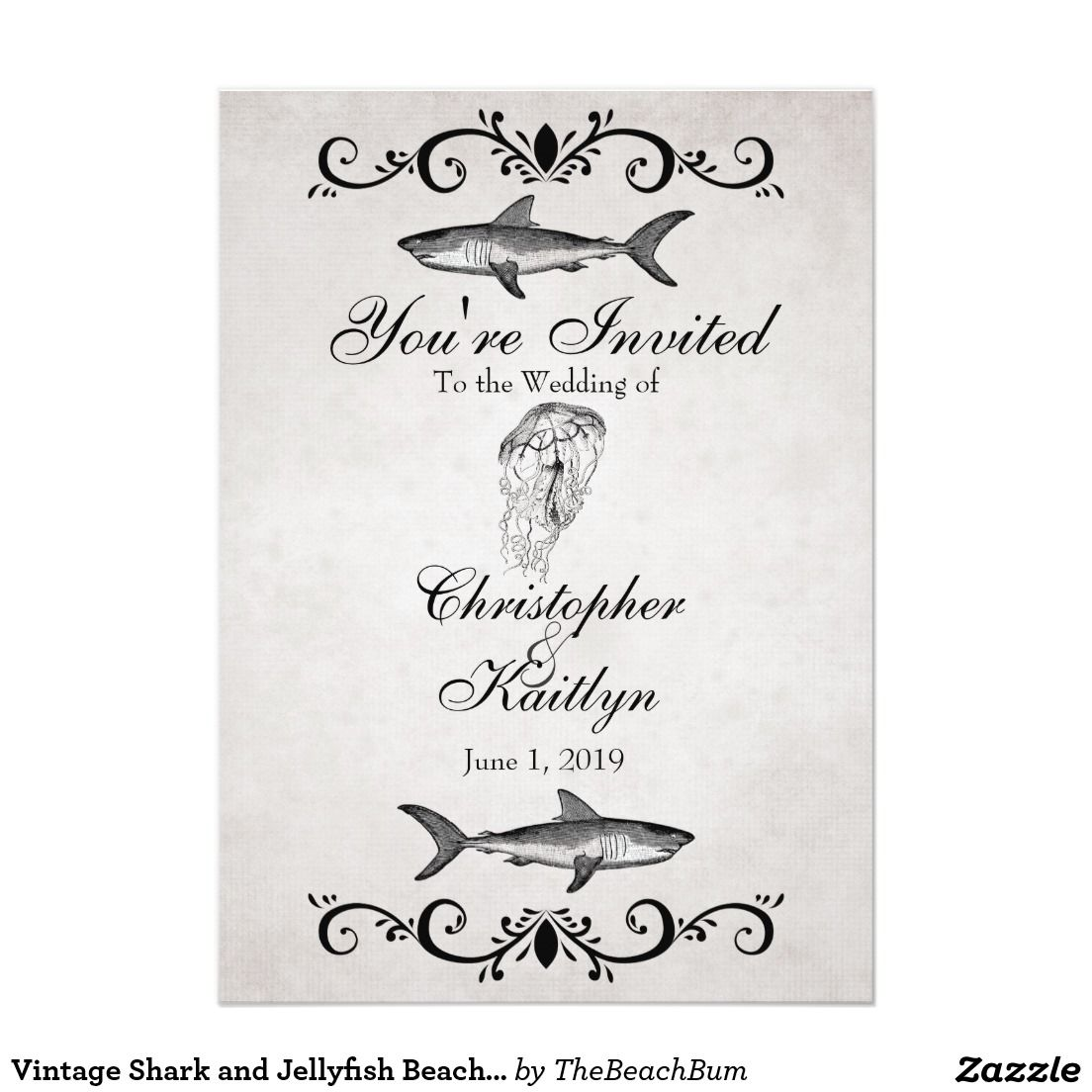 Vintage Shark and Jellyfish Beach Wedding Invite | NAUTICAL WEDDING ...