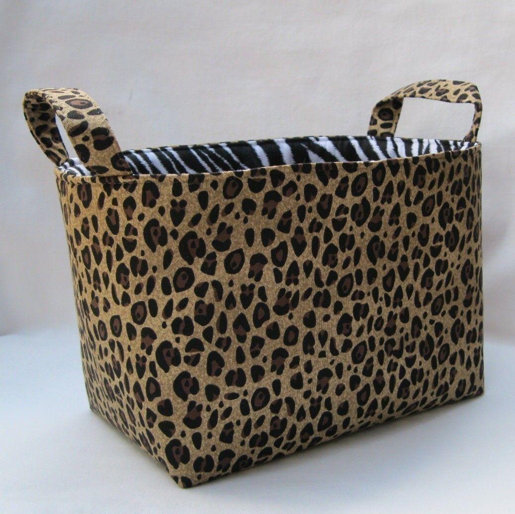 Fabric Organizer Storage Container Bin Leopard Cheetah with