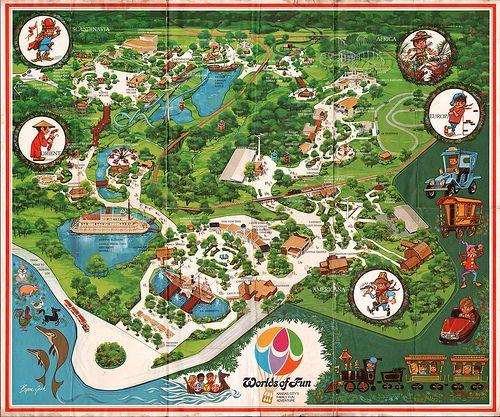 Worlds Of Fun Kansas City Missouri Souvenir Map Art By Byron Gash 1973 Worlds Of Fun Theme Park Map Kansas City