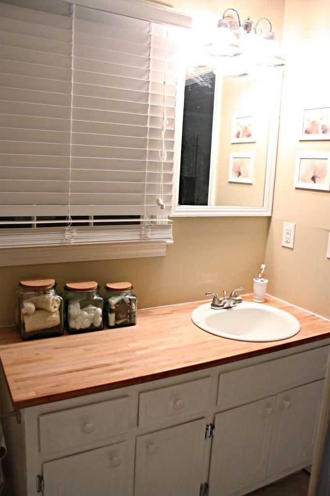 Replacing bathroom counter top with IKEA butcher block DIY  Craft