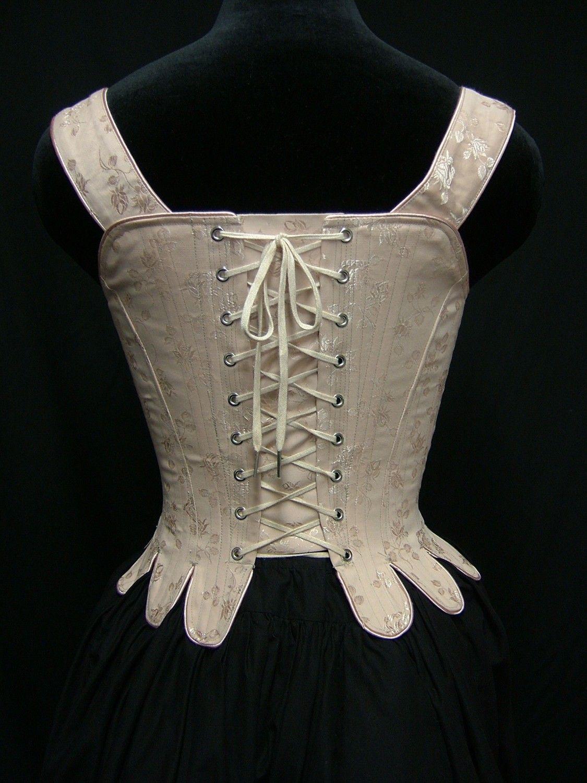 f3466e7b83dc 18th Century Marie Antoinette Corset Stays in brocade cotton Ballet Feet,  Vintage Corset, 18th