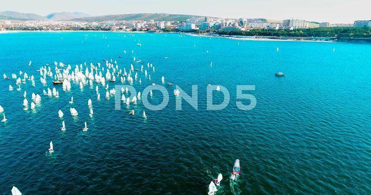 Yacht competitions in Gelendzhik Bay. Annual children's regatta. Bird's eye view... - Merchandise Design Behance - - -