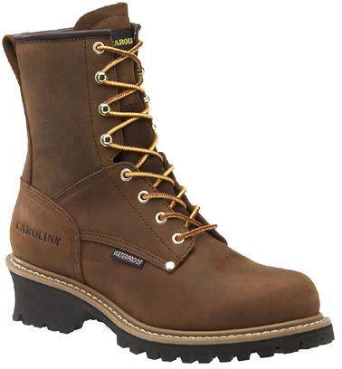 Carolina Shoe WP Plain Toe Logger Boots (Copper Crzyhrse) - Men's Boots - D