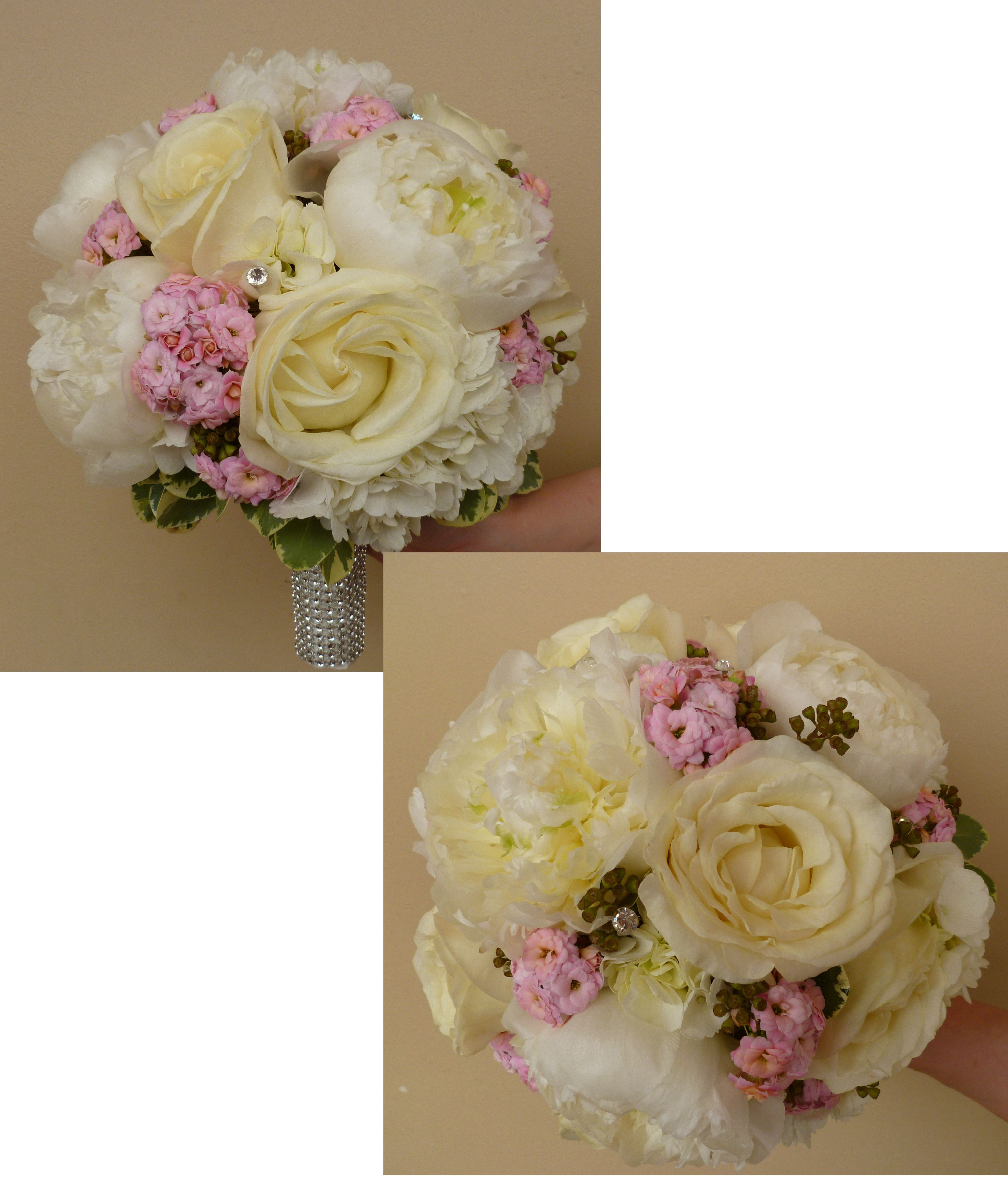 Posy Wedding Bouquet With White Peonies Roses And Pink Kalanchoe Accented A Diamond