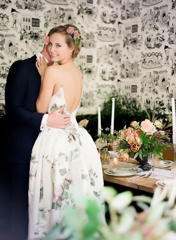 Floral reception dress
