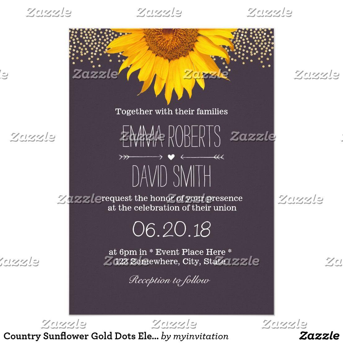 Country Sunflower Gold Dots Elegant Purple Wedding | Country Wedding ...