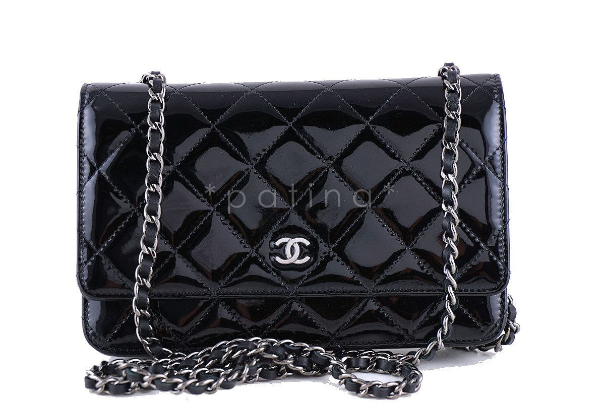 Chanel Black Patent Classic Quilted WOC Wallet on Chain Flap Bag ... 75e9a6a54a0ed